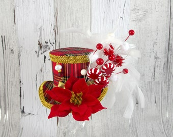 Red, Gold, and White Poinsettia and Peppermint Medium Mini Top Hat Fascinator, Alice in Wonderland, Mad Hatter Tea Party, Derby Hat