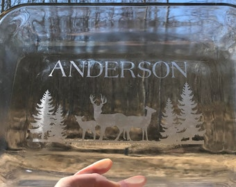 Etched baking dish, personalized glass pan, outdoor, deer, hunting, casserole dish, custom etched baking dish, wedding present, housewarming