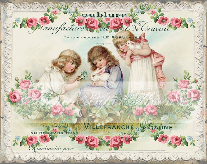 Victorian Digital Children, Vintage Girls with Bunnies, Easter Transfer Graphic Image, French Easter Pillow Digital Download