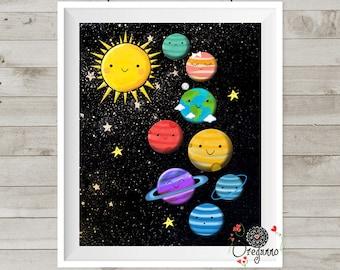 Solar System-Planets print-Space Themed Nursery-Boys room decor-Cute planets print-Space educational-Baby boy nursery-Universe