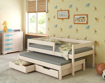 Cot Markus 200 x 90 cm with 2 drawers and 2 mattresses solid wood