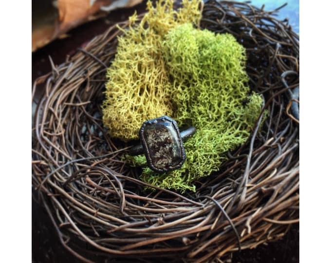 Lichen covered bark resin crystal ring - Rectangular Nature Gem ring- copper nature gemstone ring