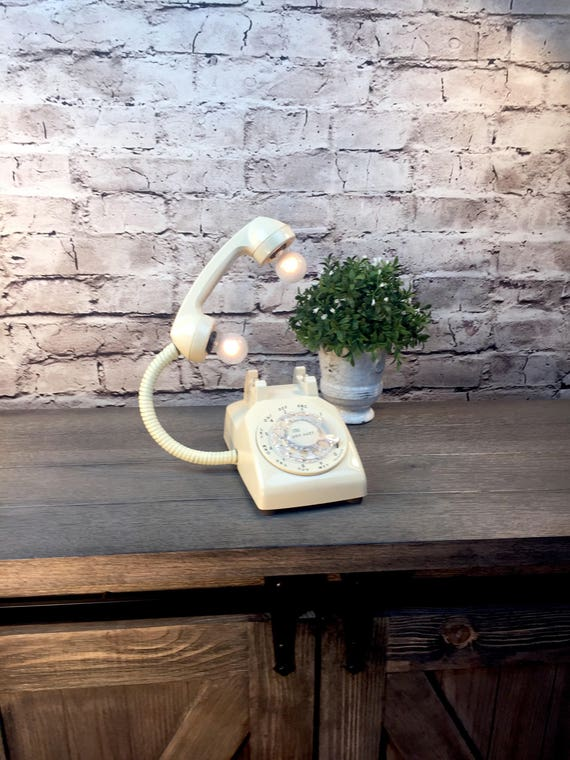 Table Lamp Upcycled Vintage Cream/Off-White Rotary Telephone