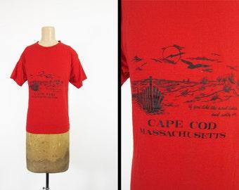 Vintage 80s Cape Cod T-shirt Sneakers Brand Massachusetts Beach Scene Red - Medium / Large