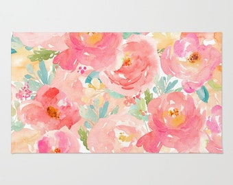 Pink Floral area rug Peony Floral pattern rug 3x5 4x6 2x3 area rug bath mat feminine home decor preppy dorm room rug girls bedroom rug