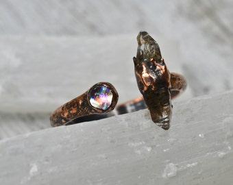 Mermaid Ring, Two Stone Ring, Raw Quartz Ring, Adjustable Ring, Open Band Ring, Dual Stone Ring, Minimalist Ring