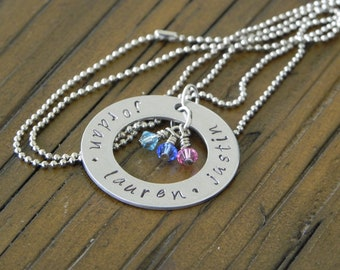 Mother's Neclace... Grandmother's necklace... Hand Stamped, personalized