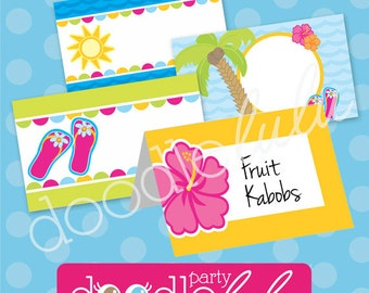 Luau Party Food Labels - Pool Party Buffet Cards - Luau Birthday Party Table Tents - Summer Party - PRINTABLE, INSTANT DOWNLOAD