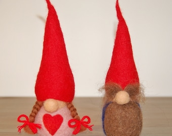 Needle Felted Forest Gnome couple (Boy and Girl) - Item #8