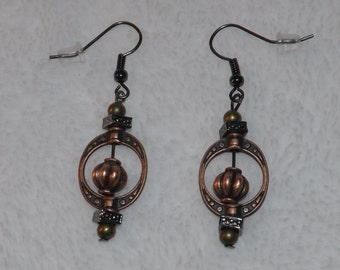 Autumn Dangle Earring Perfect For Fall Wire Hook Metal Look Beads Copper Green Silver Round & Square Wear Everywhere