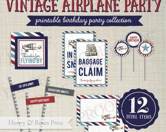 Vintage Airplane Party Package  . Plane Party Decor . Airplane Party Decorations . Birthday Party . Printable Party Decorations