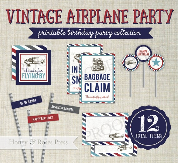 Printable Vintage Airplane Party Collection Diy By: Vintage Airplane Party Package . Plane Party Decor . Airplane