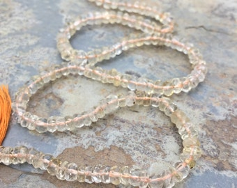 Citrine Beads, hand faceted rondelles. 13 1/2 inch strand, 4mm