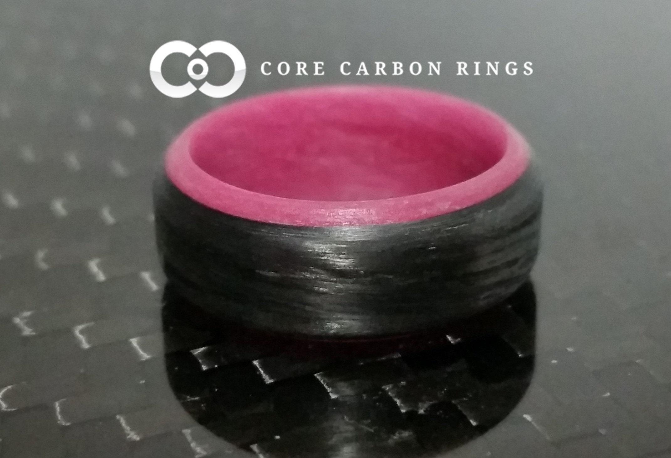 Carbon Fiber Pink Glow Ring