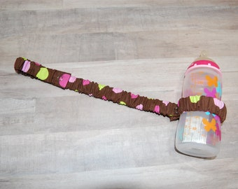 Sippy Cup Strap Large Pink & Green Dots on Chocolate - Ready to Ship