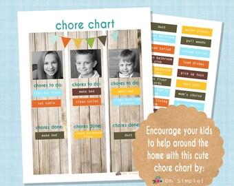 Printable Chore Chart, Job Chart Printable, Kids Chore Charts, Magnetic Chore Chart, Magnetic Job Chart, for Boys & for Girls