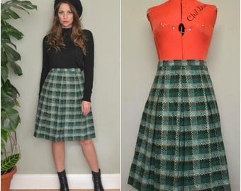 1950's 60's 70's Vintage Green Box Pleat Checked High Waisted Knee Length Mid Skirt Size 10 Small