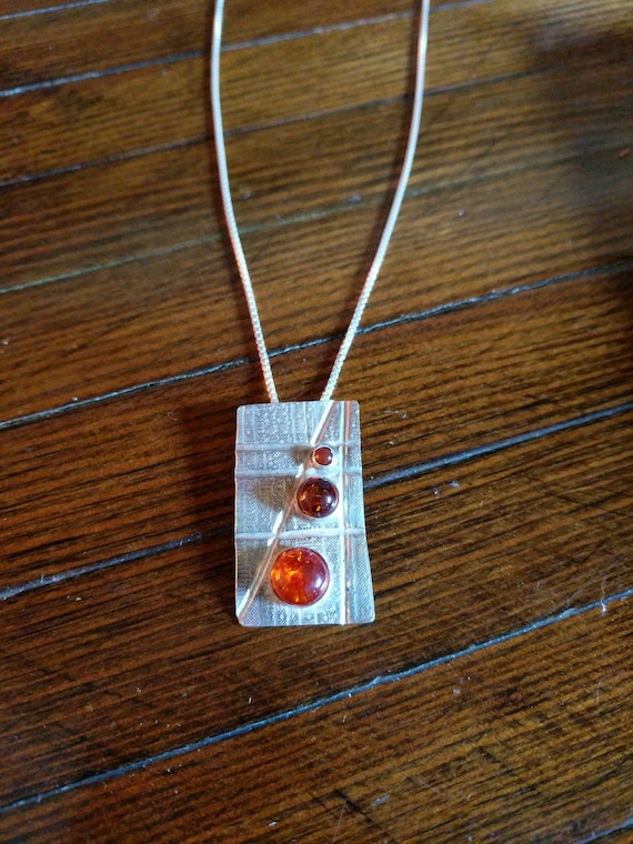 Geometric Amber and Carnelian with sterling silver Necklace