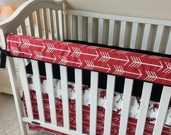 Red Arrows Bumperless Bedding, Baby Boy Crib Bedding, Rustic Woodland Crib Bedding, Baby Boy Nursery