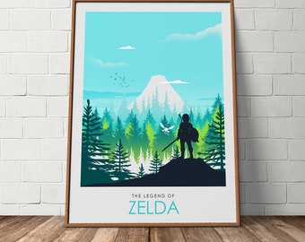 The Legend of Zelda Video Game Poster Print, Travel Poster, Video Game Poster, Minimalist Art Print, Games Room Poster, Prints, Wall Art