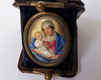 Travelling Shrine with a Painted Porcelain Miniature of the Madonna and Child in a Folding Leather Case, Private Altar, 1890s-1900s