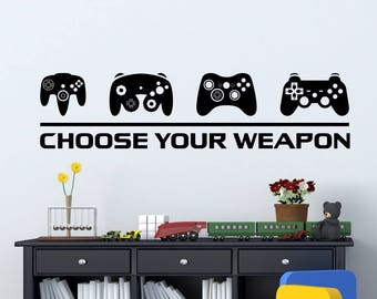 Video Game Decor Wall Decal |  Choose Your Weapon Game Controllers | Gamer Wall Decal | Sticker Gift