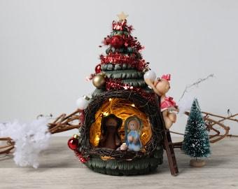 Nativity set, Christmas tree nativity, Christmas decoration lights, Handmade Nativity scene, Christmas tree figurine, Christmas decor
