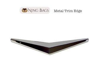 Metal Trim Edge, Metal Bar, Flap Edge, Edge Clasp, Trim Edge Corner Decoration for Bag Flaps, Clutches, Purses in Silver Finish
