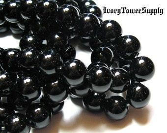 1 Strand 8mm Black Obsidian Beads, Natural Stone Beads, Black Beads, Semi Precious Gemstone Beads
