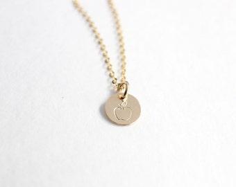 apple necklace, gift for teacher, teacher gift, teacher appreciation gift, gold apple necklace, teacher necklace, teacher jewelry, end of ye