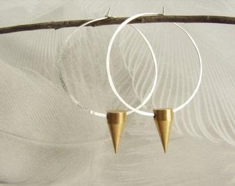 Spike hoop earrings, large sterling silver hoop earrings, gold spike hoop, hammered hoop earrings
