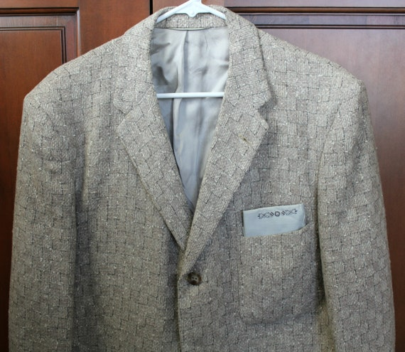 Vintage Rockabilly Atomic Fleck Jacket, 50s Mens Sport Coat Half Lined 1950s