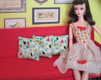 Retro THROW PILLOWS for Barbie's red sofa