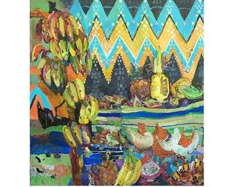 Original oil painting Oriental Bazaar - Fine art