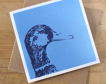 Blue Duck Greeting Card / Notelet