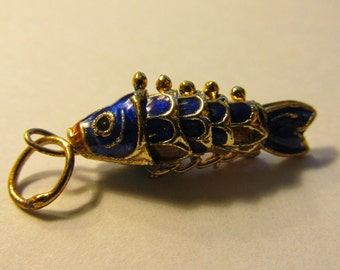 "Royal Blue Cloisonne Enamel Reticulated Fish Charm Pendant, 1"""