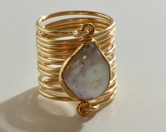 Beautiful blister pearl ring wire wrapped gold ring.