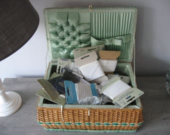 Sewing basket-with content, years 60, sixties.