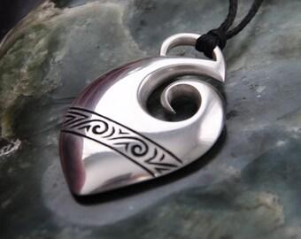 Sterling Silver Maori Fish Hook Pendant~Maui Hook ,Hei Matau, Tribal ethnic jewelry