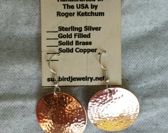 Solid copper hand hammered earrings