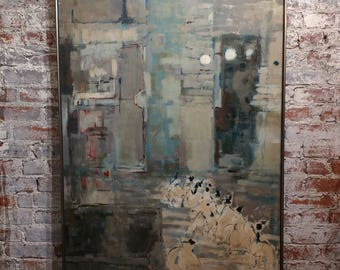 S.D. Carlson -Mid century modern Abstract -Oil Painting