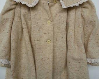 Vintage handmade toddler girls coat, tan with brown flecks, lace