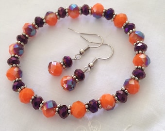 Orange and Purple glass crystal stretch bracelet ensemble