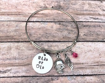 Skull Jewelry - Skull Bracelet - Ride or Die - Skull Jewelry for Women - Skull Charm Bracelet - Motorcycle Jewelry - Hand stamped Jewelry