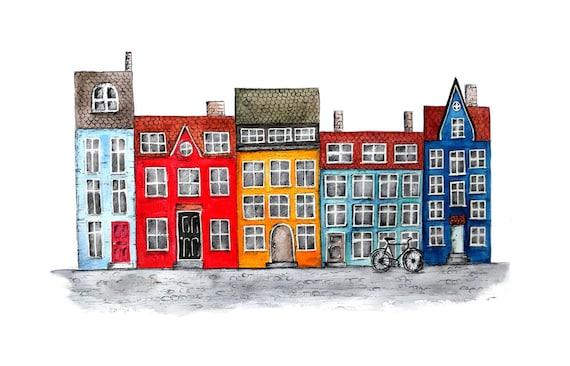 Danish Row Houses Nyhavn Copenhagen: Watercolor And Pen And