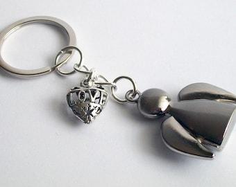 SALE** Angel Keychain ~ Angel and Heart Keyring  ~ Metal Angel Pendant ~ Driving Angel Keychain ~ Angel Keyring ~ Angel Lovers Gift