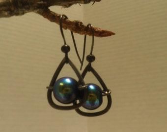 floating ORB Earrings, Peacock Glass beads, dangle earrings