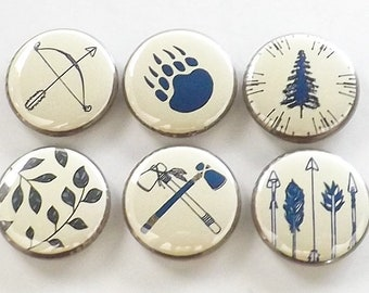 Camping Gift fridge magnets outdoors traveler bear paw leaves nature bow arrow hatchet tree forest rustic home decor hiking button pins