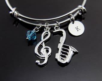 Music Gift Jazz Lover Gift Saxophone Charm Bracelet Silver Music Note Charm Bracelet Jazz Jewelry Personalized Bangle Initial Charm