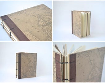 Canadiana Map Journal: Great Lakes, Brown Vintage Map Hardcover Journal, Coptic Notebook with Brown Fabric Edging, Great Lakes Map Book